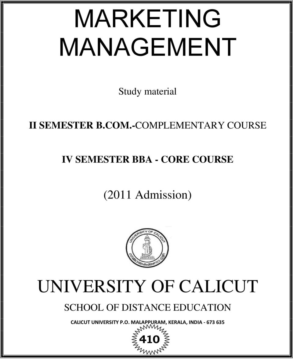 Admission) UNIVERSITY OF CALICUT SCHOOL OF DISTANCE