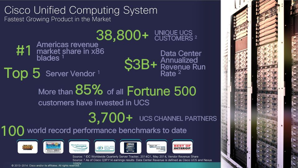 00 3,700+ UCS CHANNEL PARTNERS world record performance benchmarks to date Source: 1 IDC Worldwide Quarterly Server Tracker, 2014Q1, May 2014,