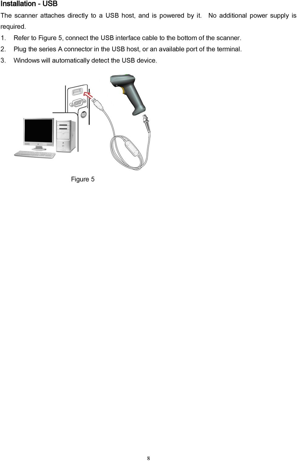Refer to Figure 5, connect the USB interface cable to the bottom of the scanner. 2.