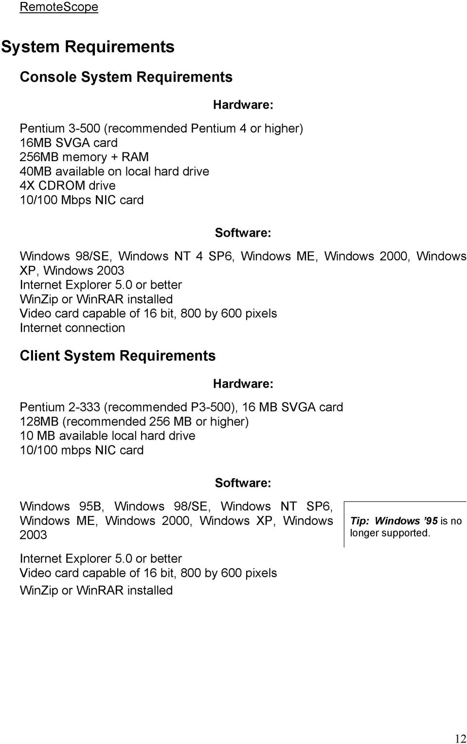 0 or better WinZip or WinRAR installed Video card capable of 16 bit, 800 by 600 pixels Internet connection Client System Requirements Hardware: Pentium 2-333 (recommended P3-500), 16 MB SVGA card