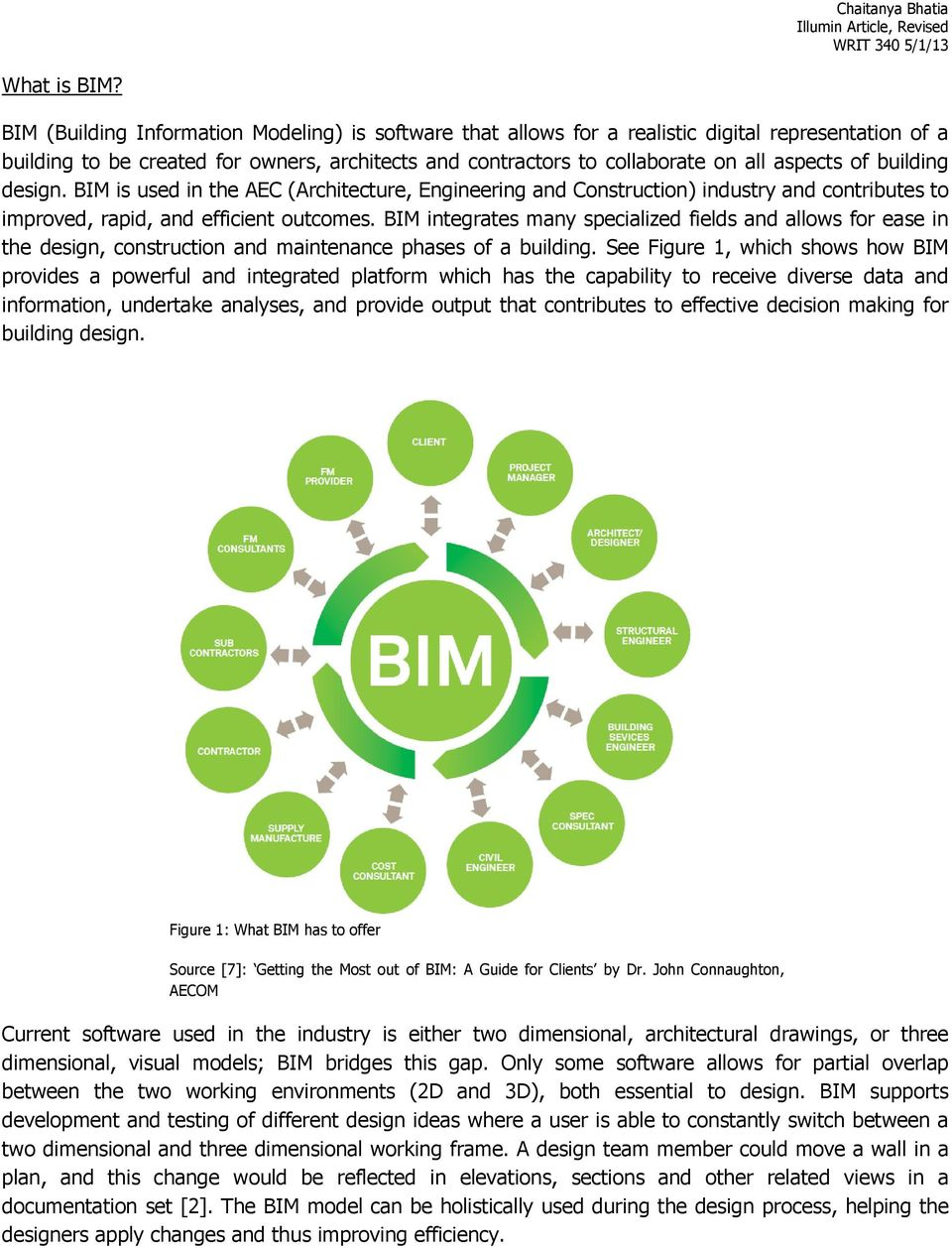 building design. BIM is used in the AEC (Architecture, Engineering and Construction) industry and contributes to improved, rapid, and efficient outcomes.