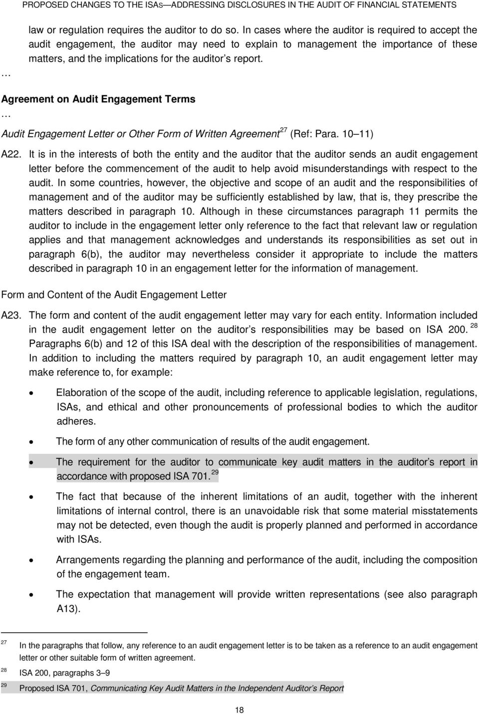 Agreement on Audit Engagement Terms Audit Engagement Letter or Other Form of Written Agreement 27 (Ref: Para. 10 11) A22.