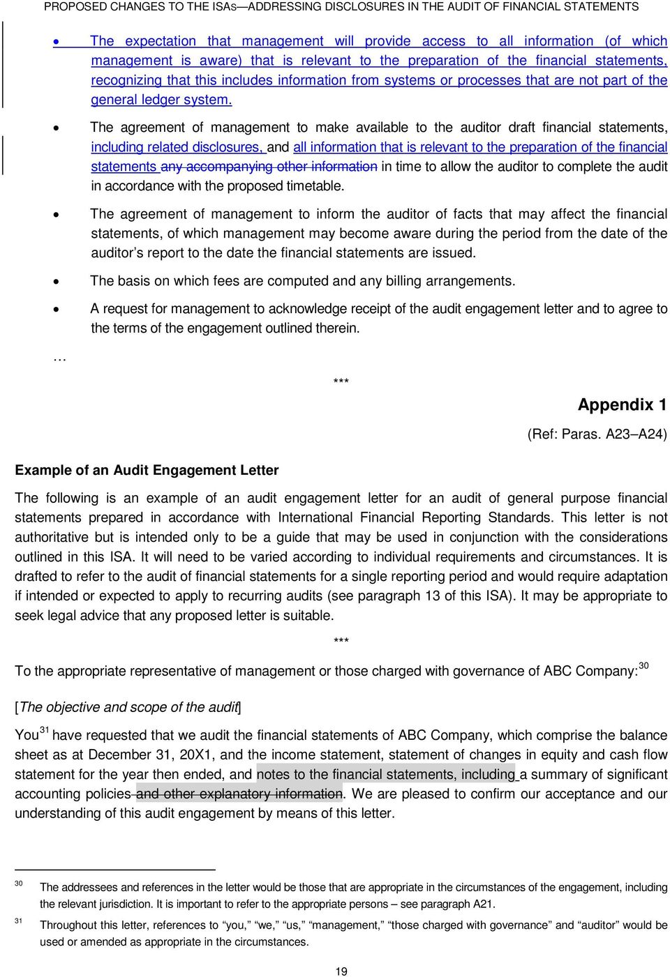 The agreement of management to make available to the auditor draft financial statements, including related disclosures, and all information that is relevant to the preparation of the financial