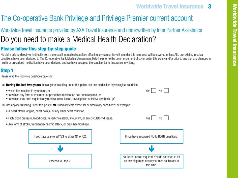 pre-existing medical conditions have been declared to The Co-operative Bank Medical Assessment Helpline prior to the commencement of cover under this policy and/or prior to any trip, any changes in