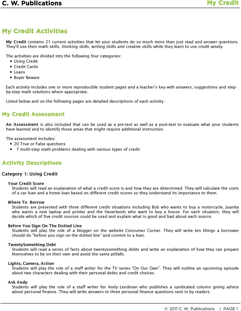 worksheet Reproducible Student Worksheet activity 2 things to do students will make a list of cary the activities are divided into following four categories using credit cards loans buyer