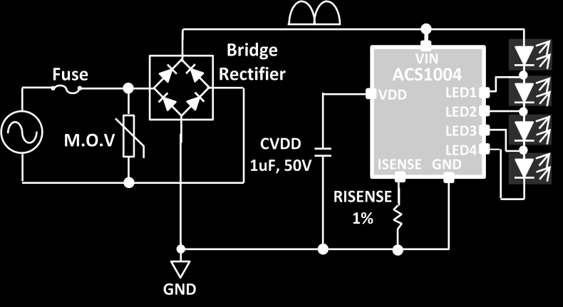 TYPICAL APPLICATION * Figure 1. Typical Application * Each forward voltage(vf) across each LED group is adjustable as needed. ABSOLUTE MAXIMUM RATINGS VIN...-0.3V to +500V LED1~3...-0.3V to +500V LED4.
