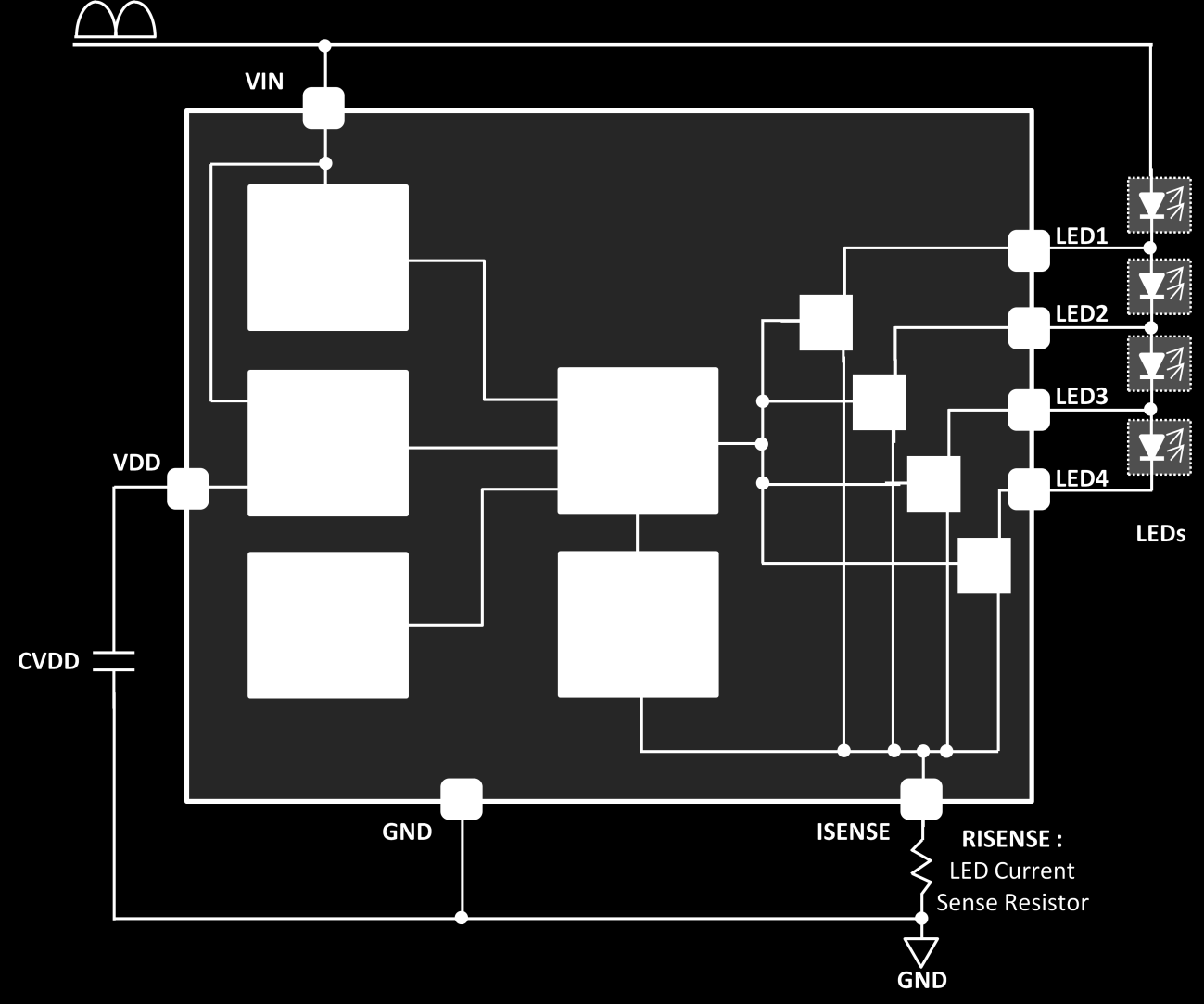PIN FUNCTIONS VIN: Rectified AC Input Voltage. Connect this pin to rectified AC voltage after a bridge rectifier. VDD: Internal Shunt Regulator Output Voltage.