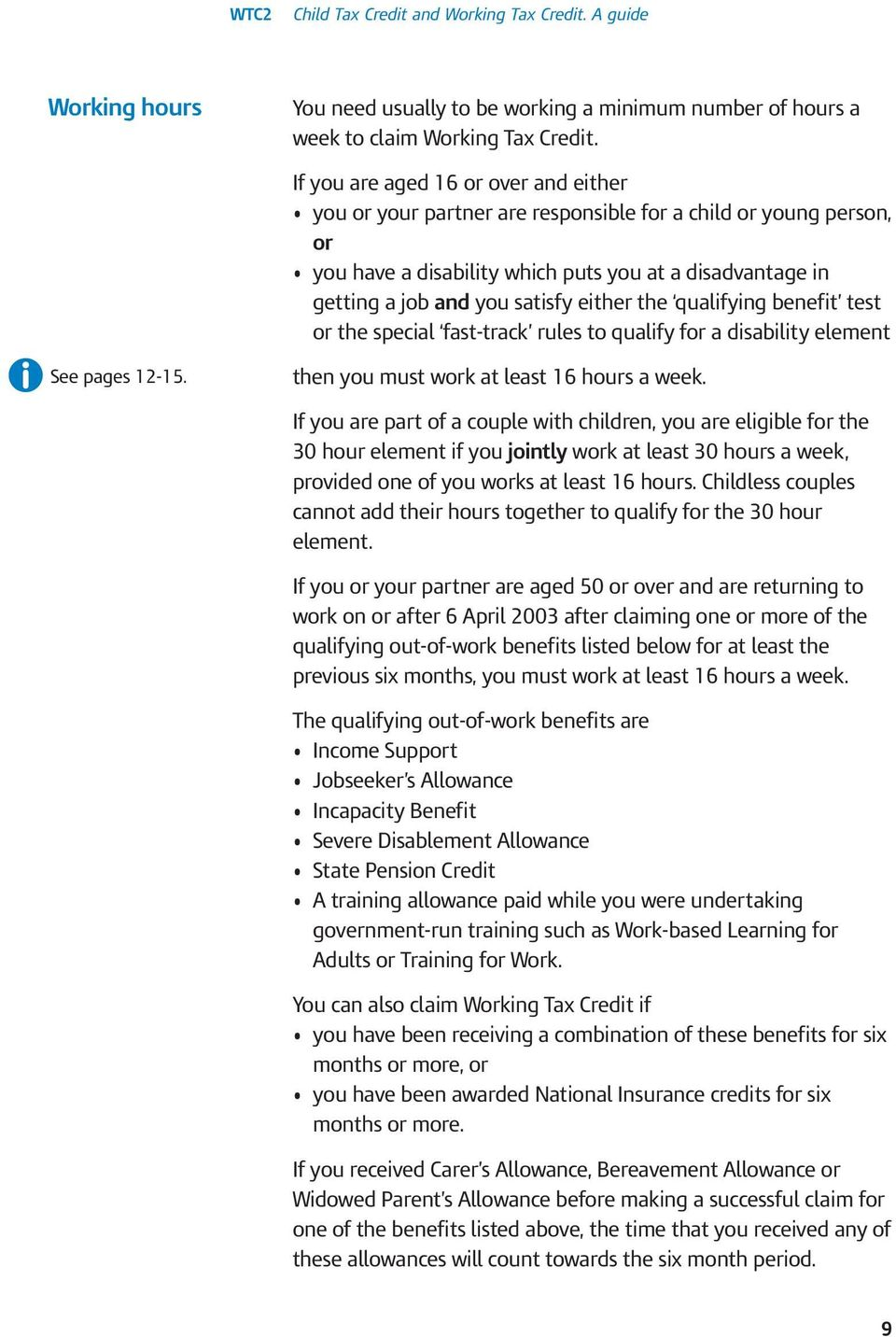 either the qualifying benefit test or the special fast-track rules to qualify for a disability element See pages 12-15. then you must work at least 16 hours a week.