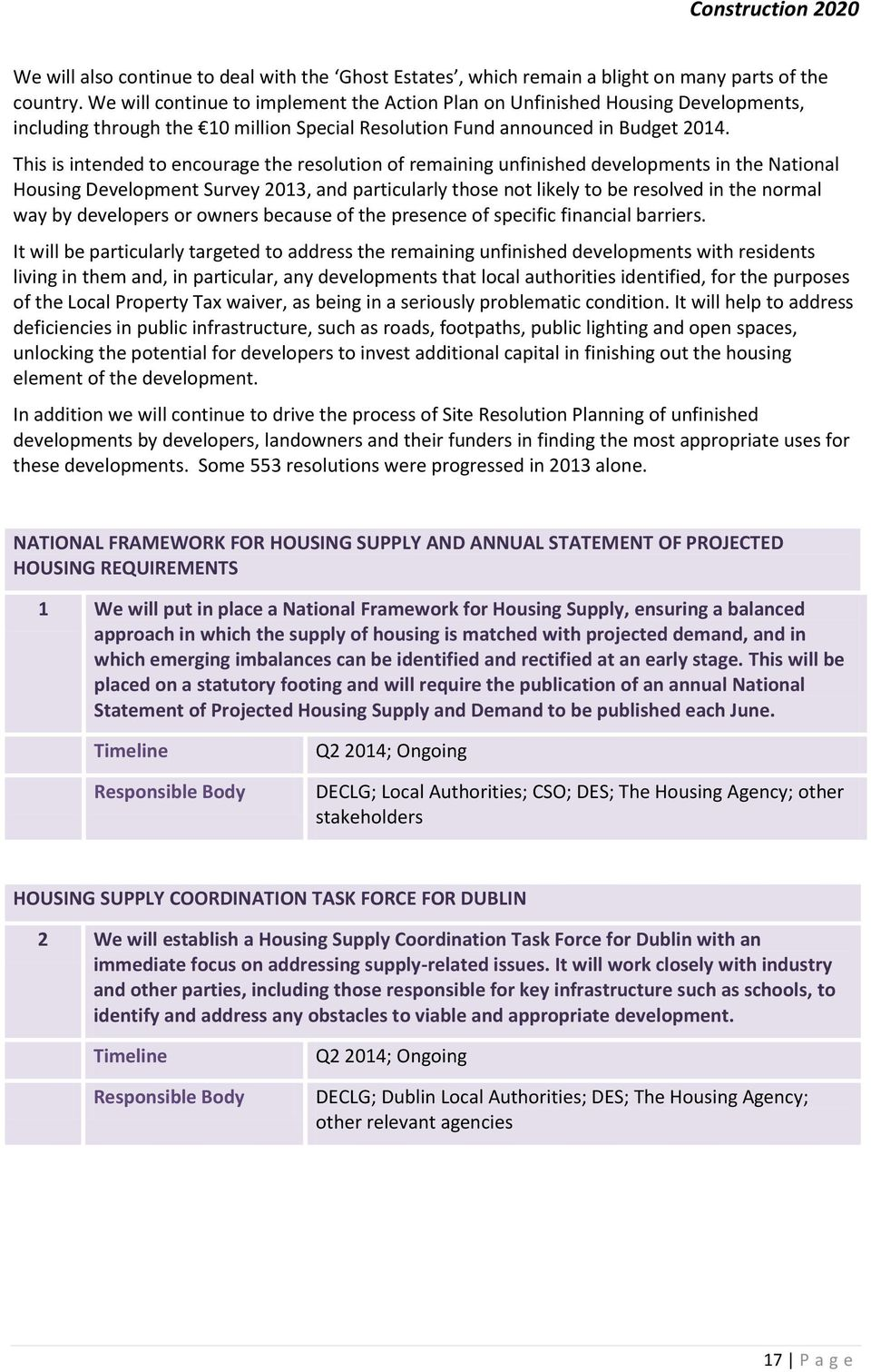 This is intended to encourage the resolution of remaining unfinished developments in the National Housing Development Survey 2013, and particularly those not likely to be resolved in the normal way