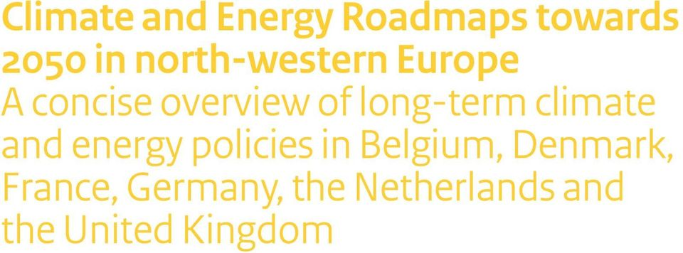long-term climate and energy policies in Belgium,