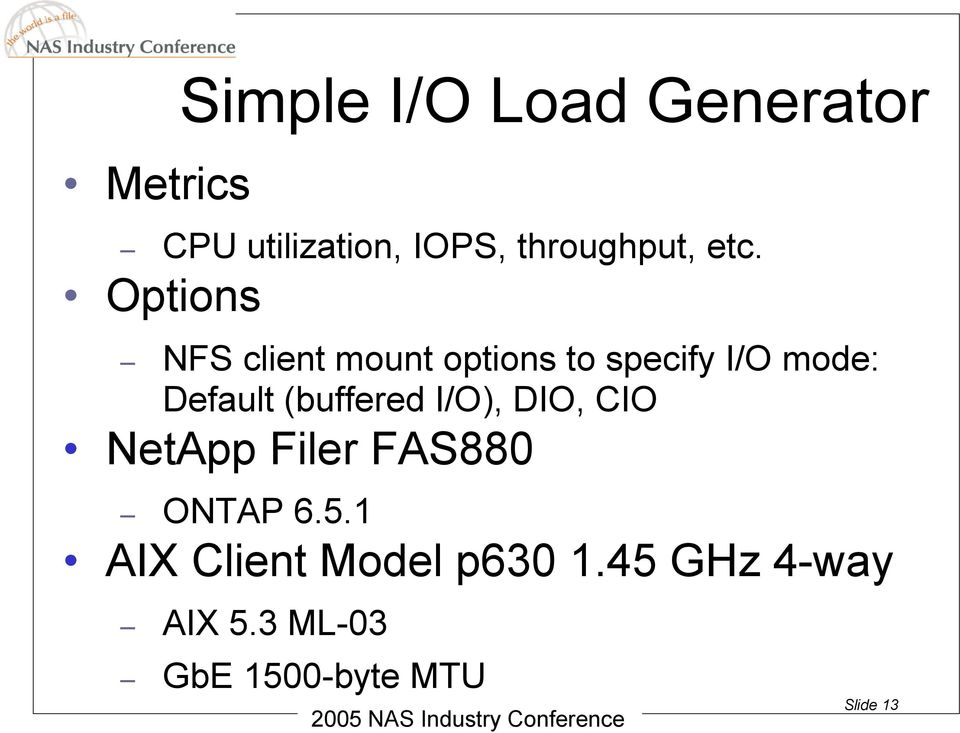 Options NFS client mount options to specify I/O mode: Default