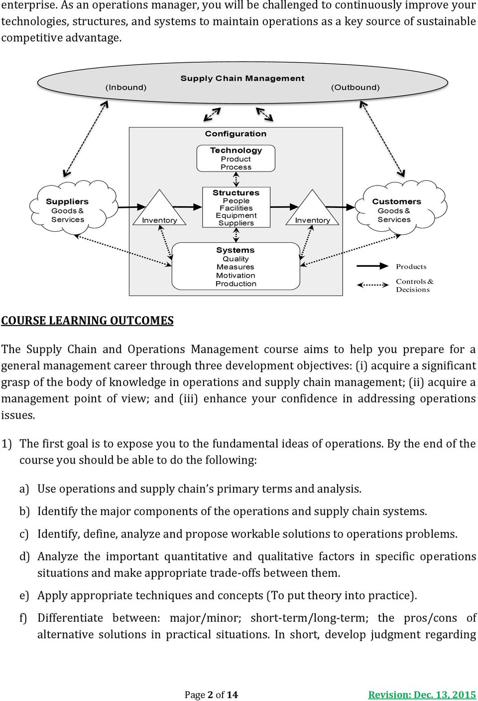 course outline of production operation management The primary objective of the course is to provide the students with an understanding of the theories, models, problems, issues, and techniques related to the.