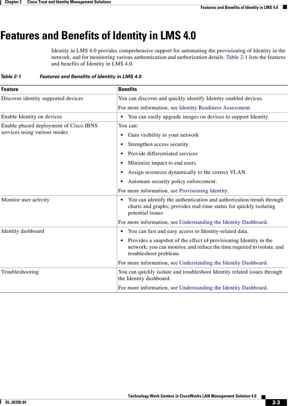 Table 2-1 lists the features and benefits of Identity in LMS 4.0. Table 2-1 Features and Benefits of Identity in LMS 4.