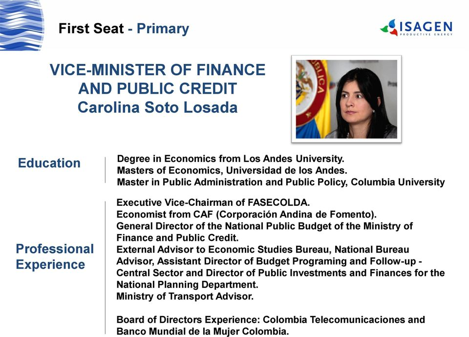 General Director of the National Public Budget of the Ministry of Finance and Public Credit.
