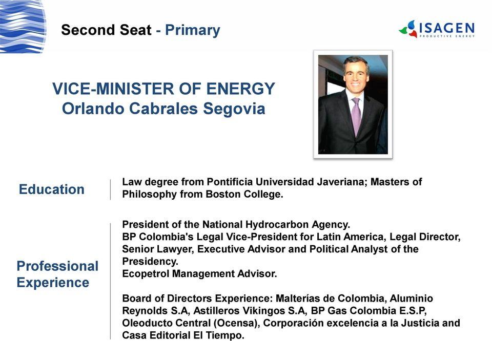 BP Colombia's Legal Vice-President for Latin America, Legal Director, Senior Lawyer, Executive Advisor and Political Analyst of the Presidency.