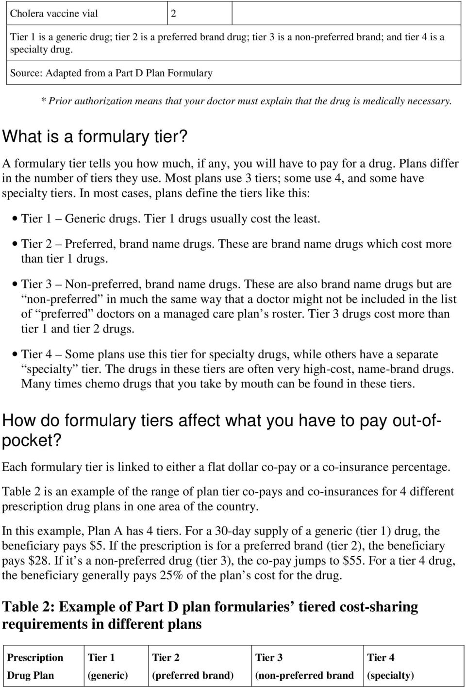A formulary tier tells you how much, if any, you will have to pay for a drug. Plans differ in the number of tiers they use. Most plans use 3 tiers; some use 4, and some have specialty tiers.