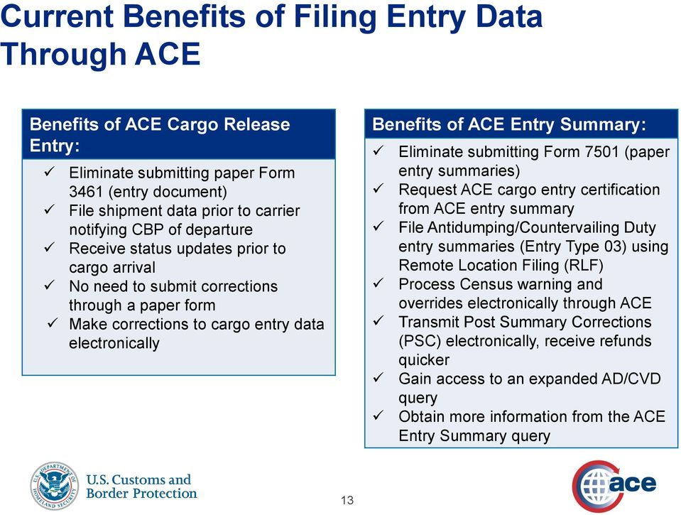 submitting Form 7501 (paper entry summaries) Request ACE cargo entry certification from ACE entry summary File Antidumping/Countervailing Duty entry summaries (Entry Type 03) using Remote Location