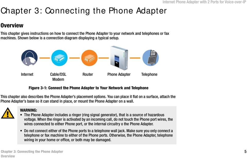 Internet Phone Adapter with 2 Ports for Voice-over-IP Internet Cable/DSL Modem Router Phone Adapter Telephone Figure 3-1: Connect the Phone Adapter to Your Network and Telephone This chapter also