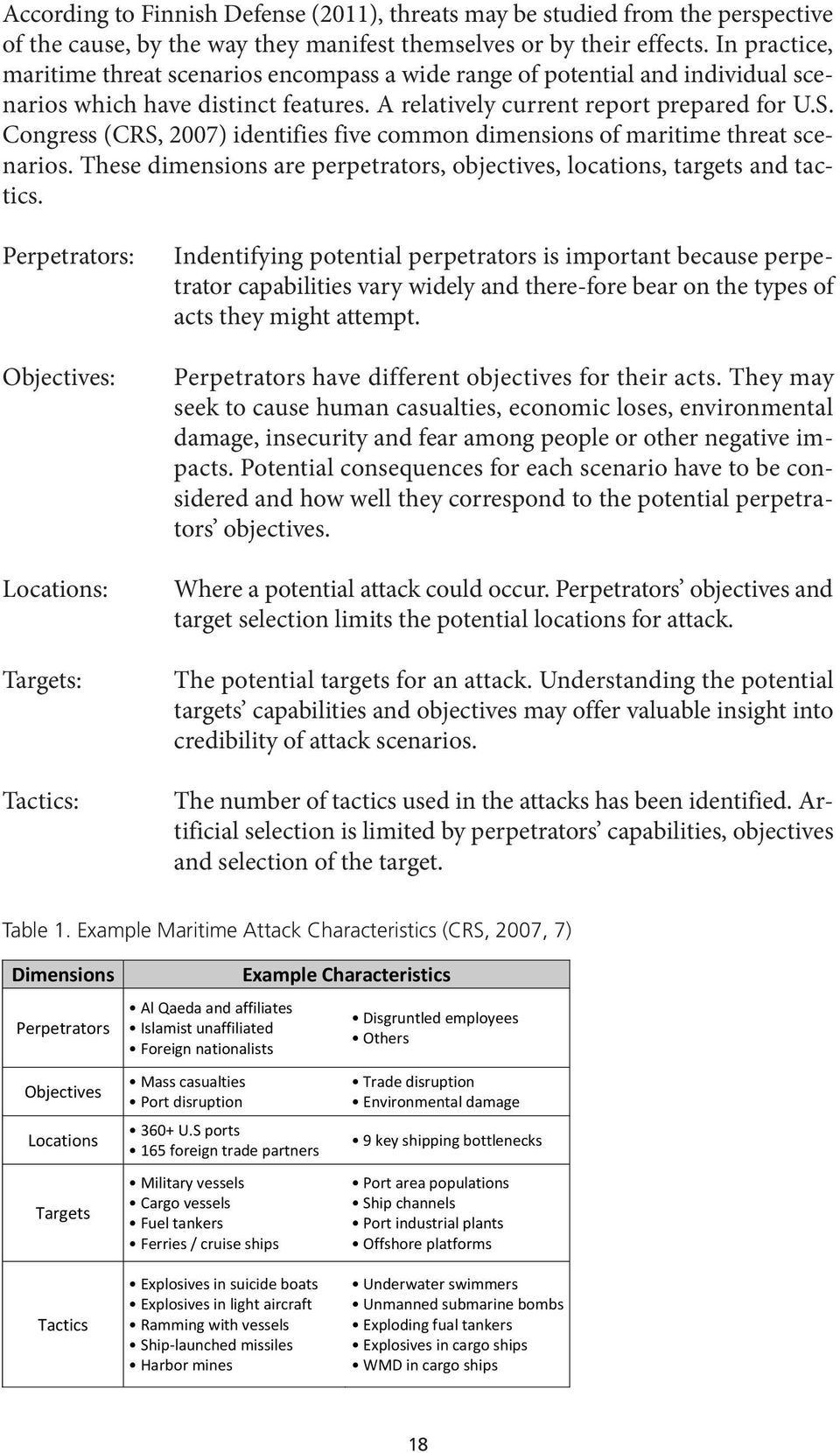 Congress (CRS, 2007) identifies five common dimensions of maritime threat scenarios. These dimensions are perpetrators, objectives, locations, targets and tactics.