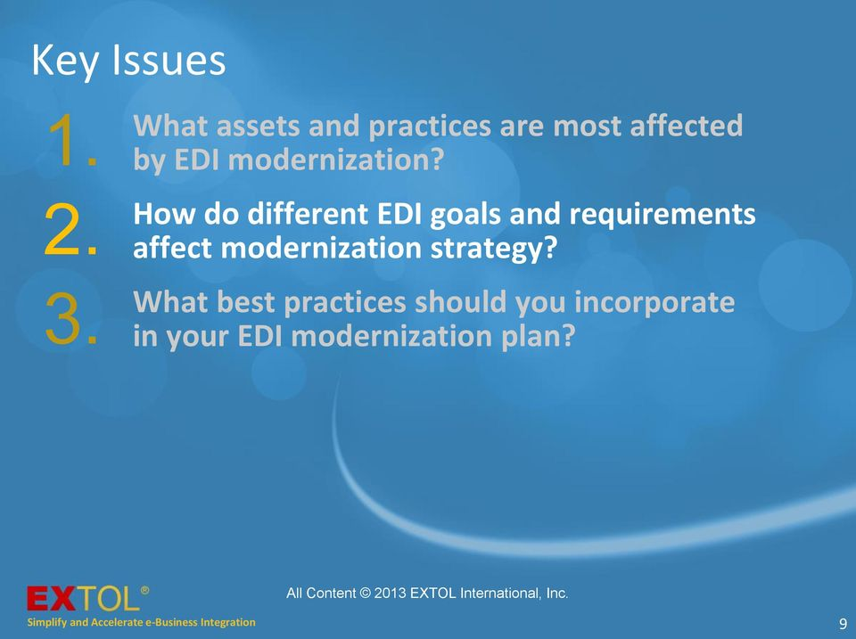 How do different EDI goals and requirements affect modernization