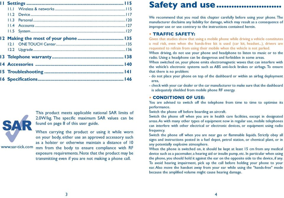 The specific maximum SAR values can be found on page 8 of this user guide.