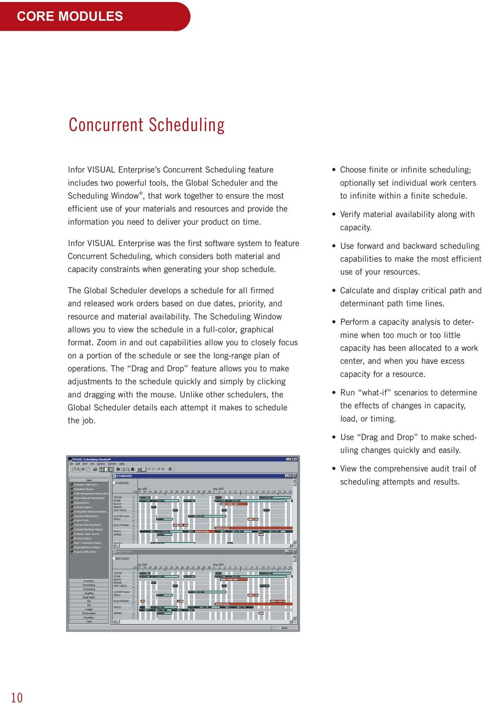 Infor VISUAL Enterprise was the first software system to feature Concurrent Scheduling, which considers both material and capacity constraints when generating your shop schedule.