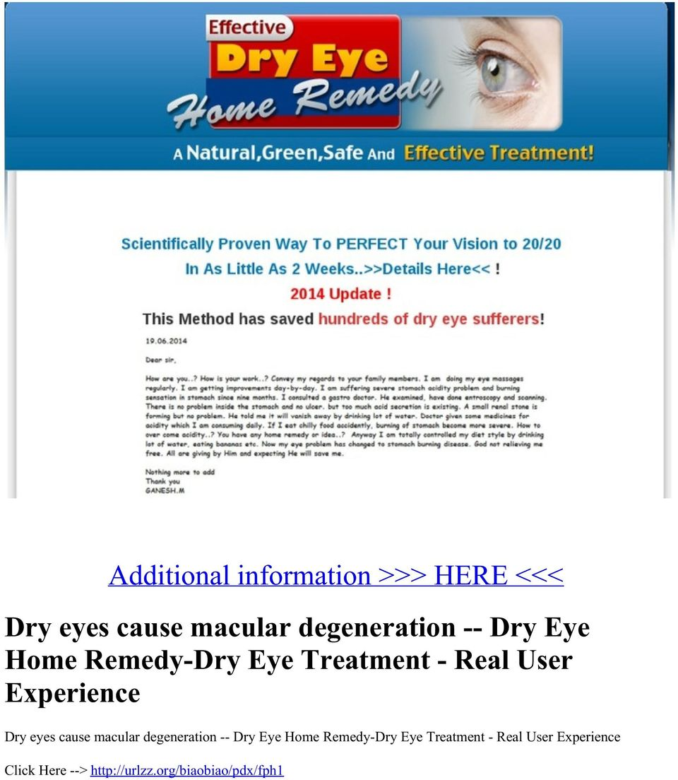 eyes cause macular degeneration -- Dry Eye Home Remedy-Dry Eye