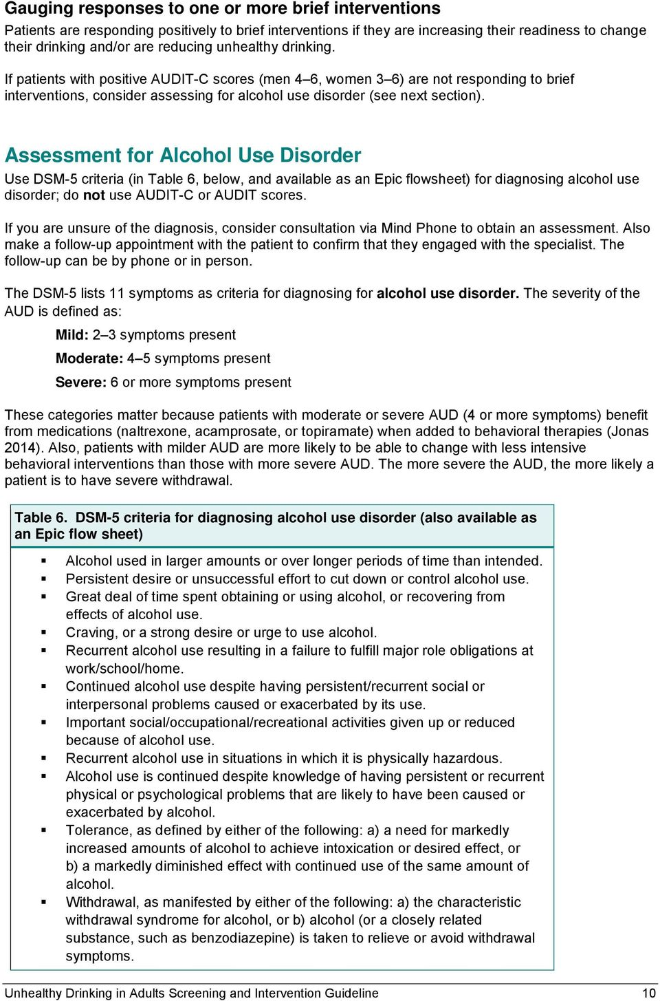 Assessment for Alcohol Use Disorder Use DSM-5 criteria (in Table 6, below, and available as an Epic flowsheet) for diagnosing alcohol use disorder; do not use AUDIT-C or AUDIT scores.