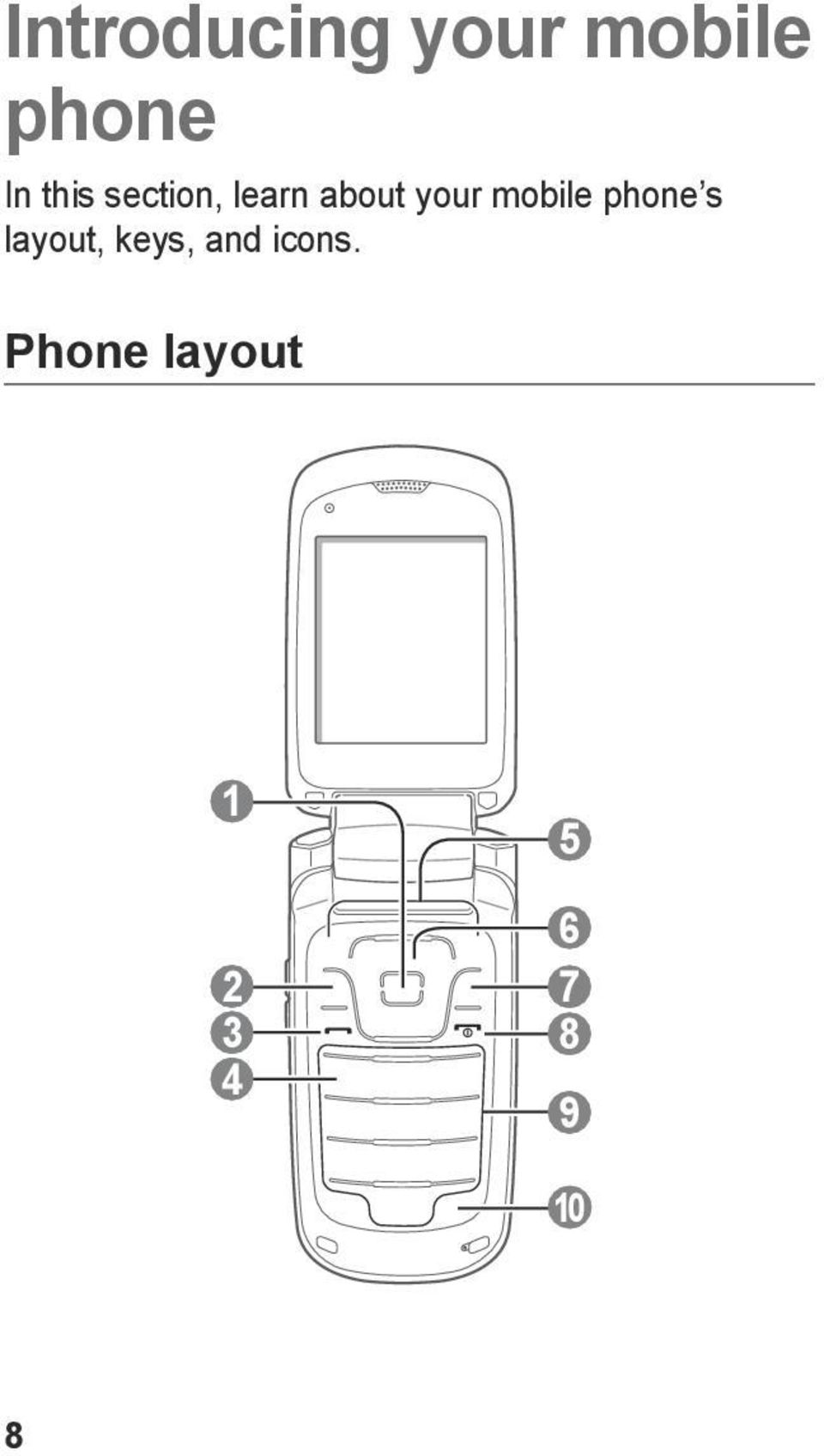mobile phone s layout, keys, and
