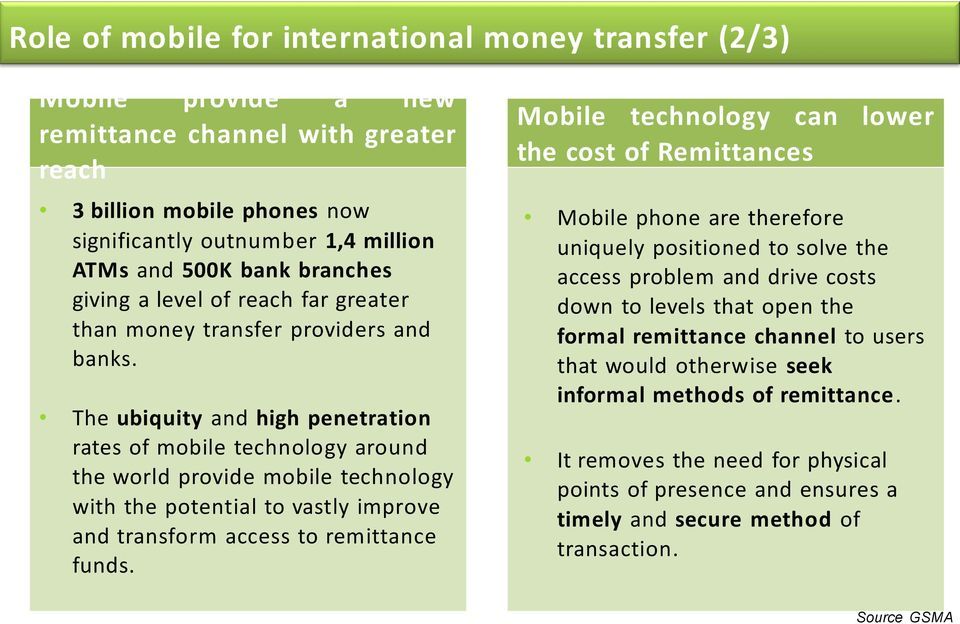 The ubiquity and high penetration rates of mobile technology around the world provide mobile technology with the potential to vastly improve and transform access to remittance funds.