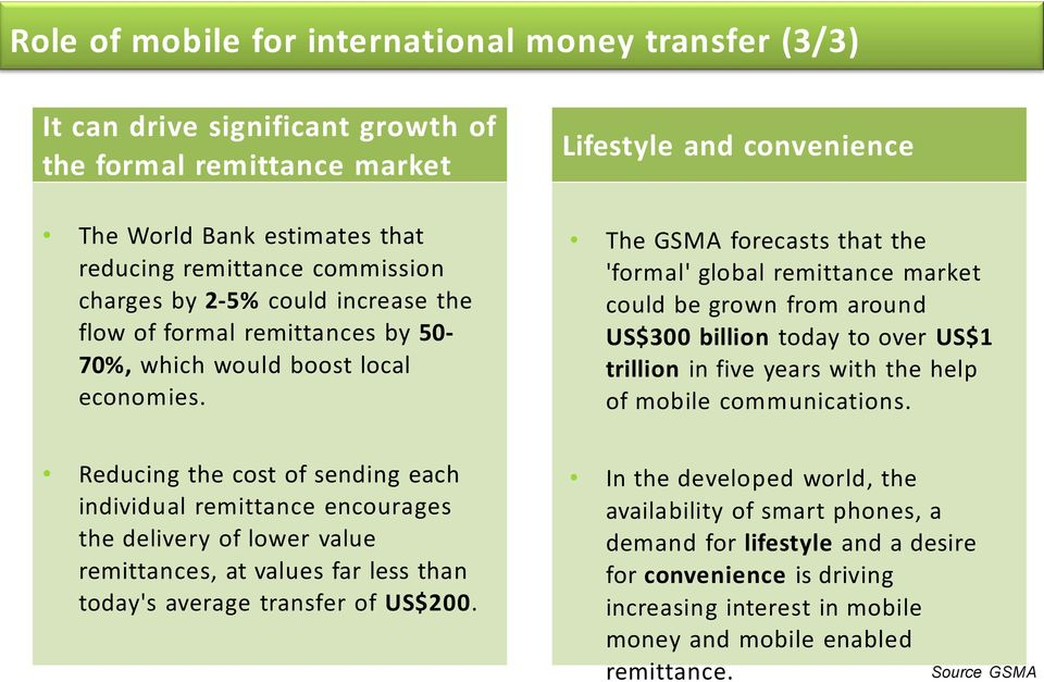 Lifestyle and convenience The GSMA forecasts that the 'formal' global remittance market could be grown from around US$300 billion today to over US$1 trillion in five years with the help of mobile