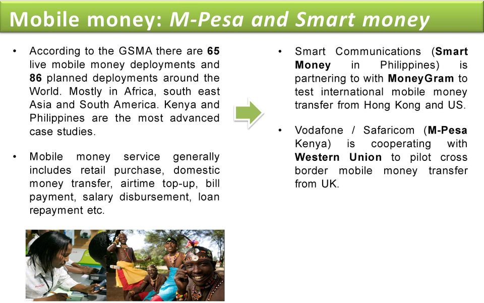 Mobile money service generally includes retail purchase, domestic money transfer, airtime top-up, bill payment, salary disbursement, loan repayment etc.