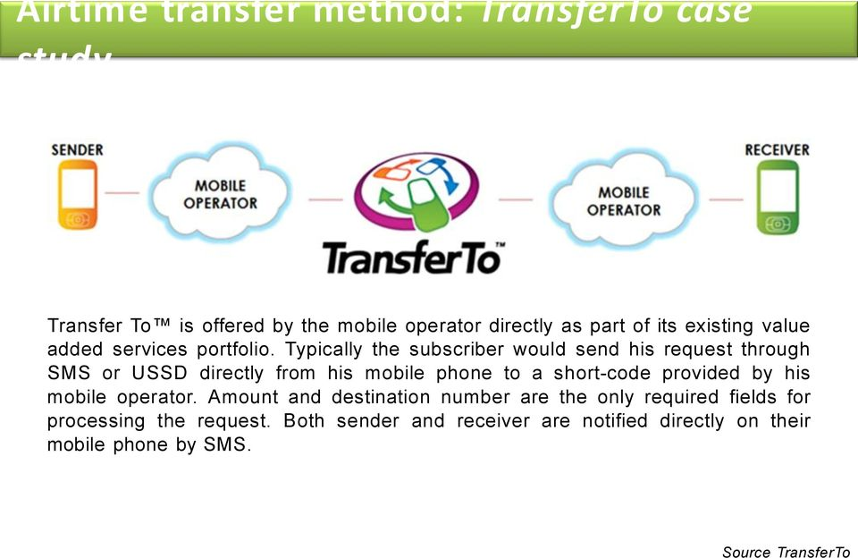 Typically the subscriber would send his request through SMS or USSD directly from his mobile phone to a short-code