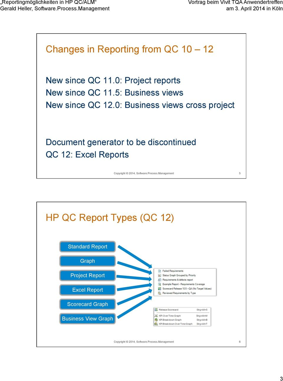 0: Business views cross project Document generator to be discontinued QC 12: Excel Reports Copyright