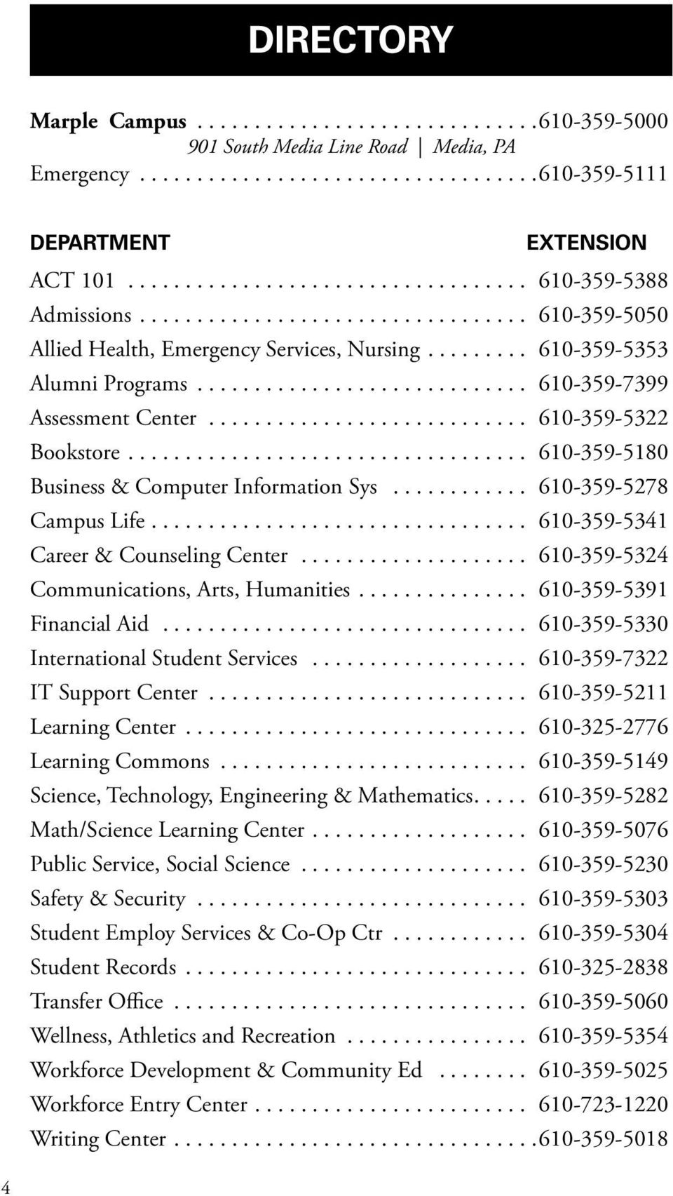 .. 610-359-5180 Business & Computer Information Sys... 610-359-5278 Campus Life... 610-359-5341 Career & Counseling Center... 610-359-5324 Communications, Arts, Humanities... 610-359-5391 Financial Aid.