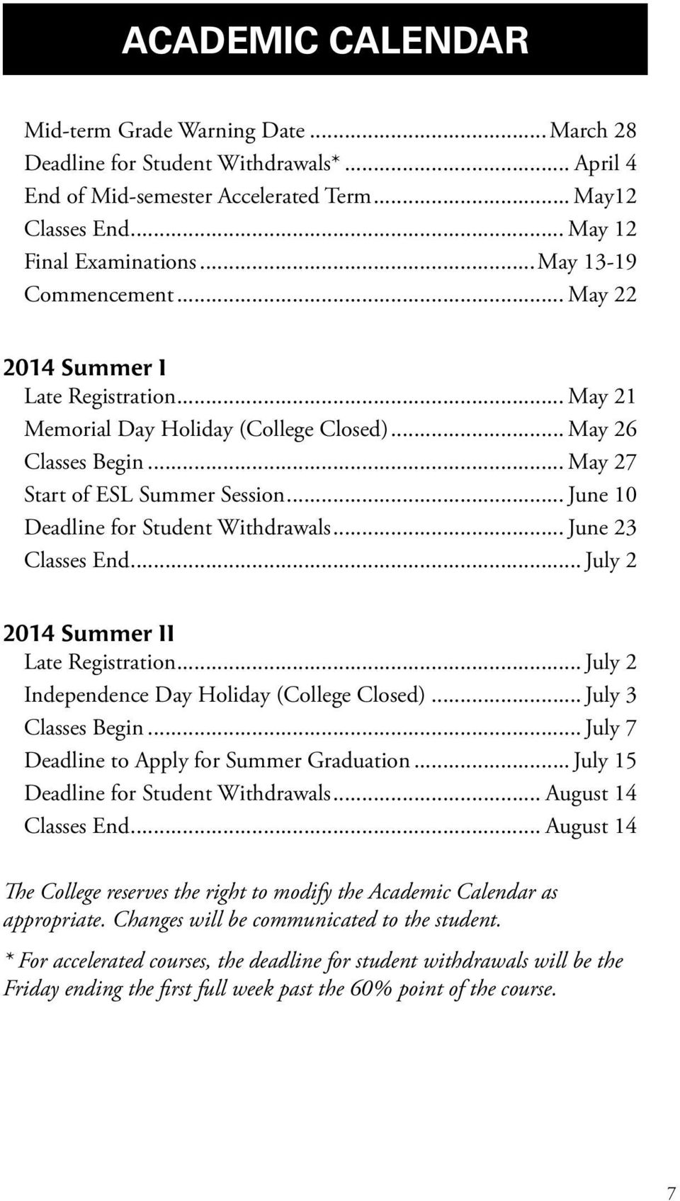 .. June 10 Deadline for Student Withdrawals... June 23 Classes End... July 2 2014 Summer II Late Registration... July 2 Independence Day Holiday (College Closed)... July 3 Classes Begin.