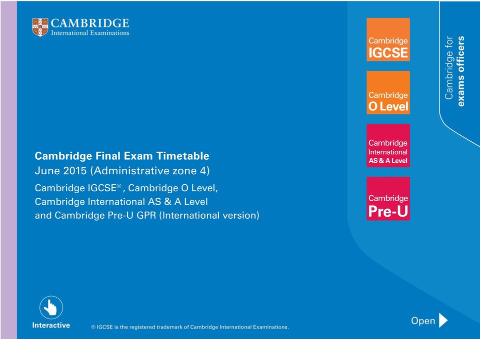International AS & A Level and Cambridge Pre-U GPR (International version)