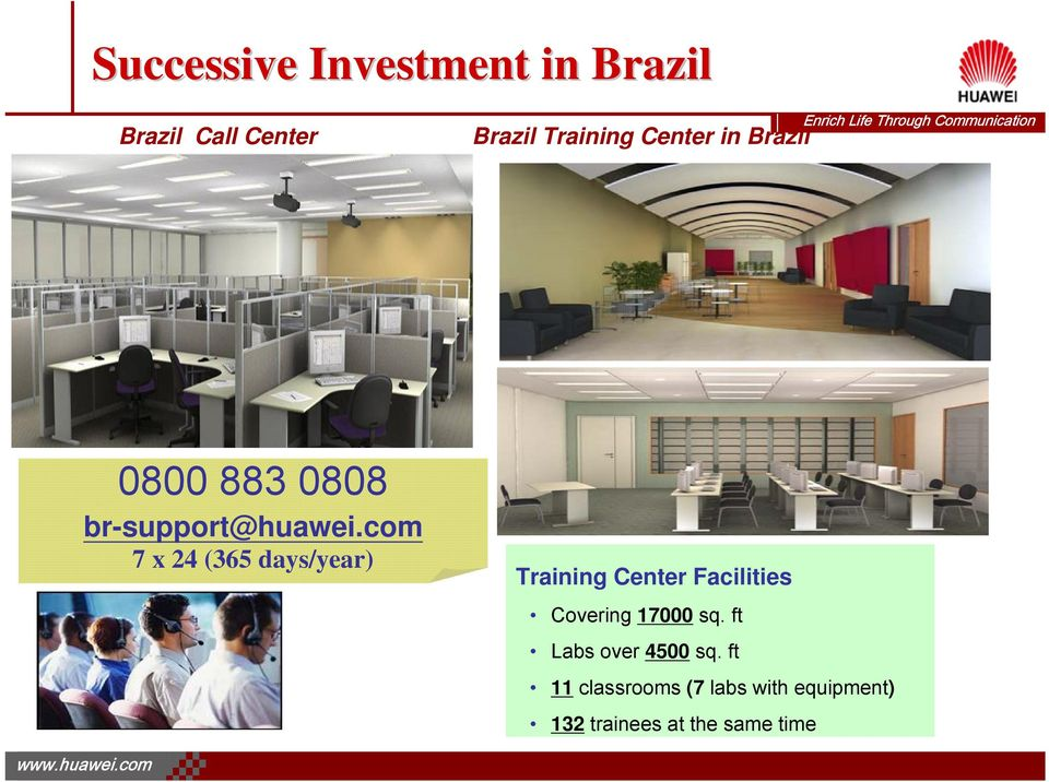 com 7 x 24 (365 days/year) Training Center Facilities Covering 17000