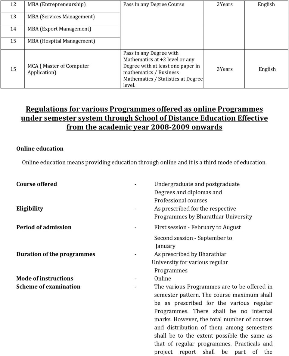 3Years English Regulations for various Programmes offered as online Programmes under semester system through School of Distance Education Effective from the academic year 2008-2009 onwards Online