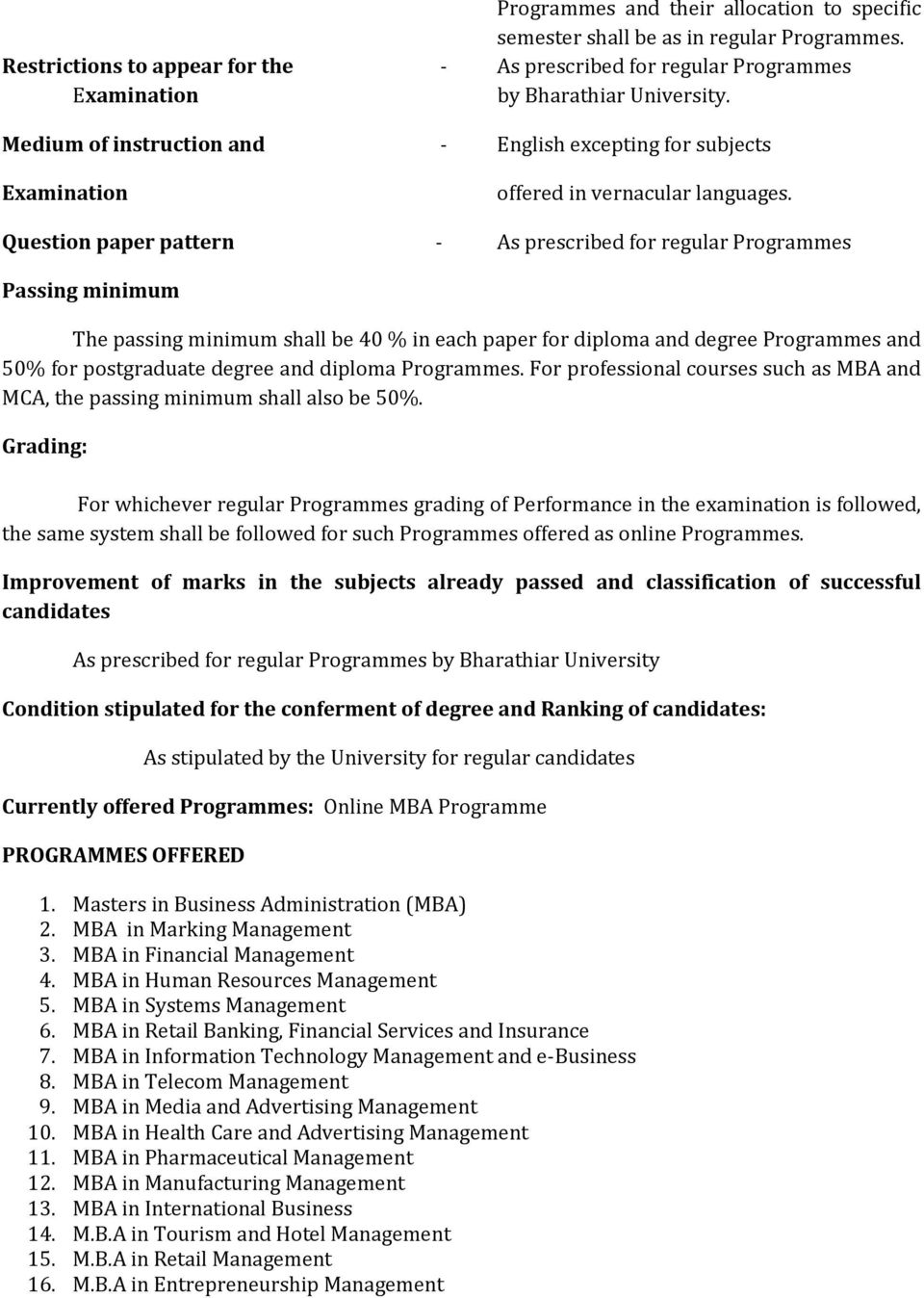 Question paper pattern - As prescribed for regular Programmes Passing minimum The passing minimum shall be 40 % in each paper for diploma and degree Programmes and 50% for postgraduate degree and