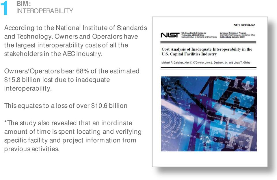 Owners/Operators bear 68% of the estimated $15.8 billion lost due to inadequate interoperability.