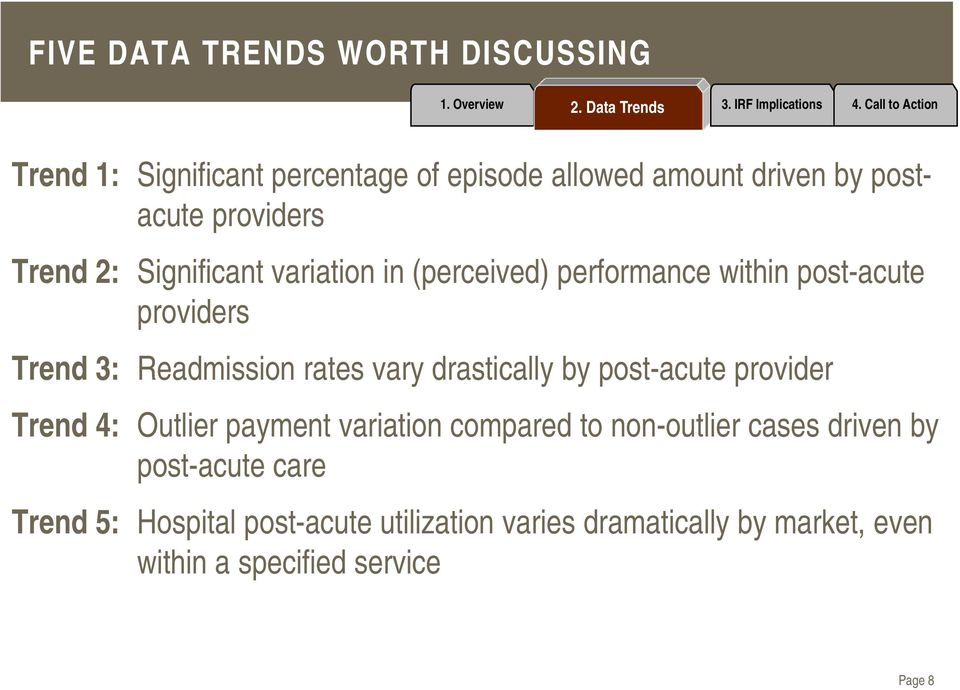 rates vary drastically by post-acute provider Trend 4: Outlier payment variation compared to non-outlier cases driven