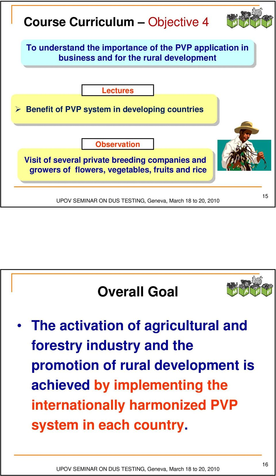 companies and and growers of of flowers, vegetables, fruits and and rice rice 15 Overall Goal The activation of agricultural and