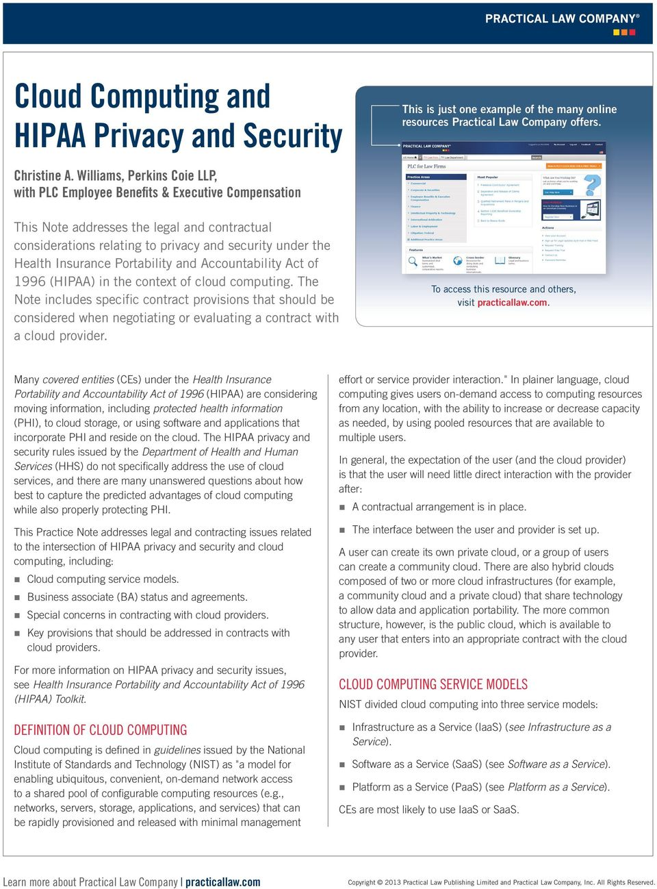 Insurance Portability and Accountability Act of 1996 (HIPAA) in the context of cloud computing.