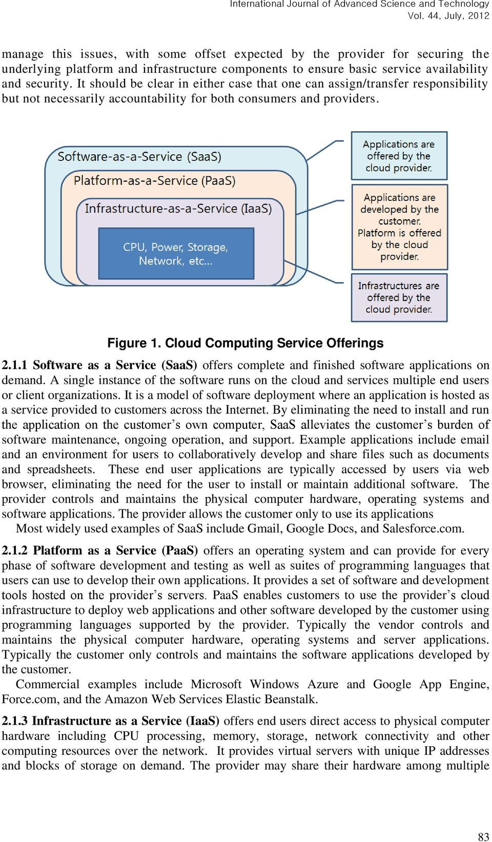 Cloud Computing Service Offerings 2.1.1 Software as a Service (SaaS) offers complete and finished software applications on demand.