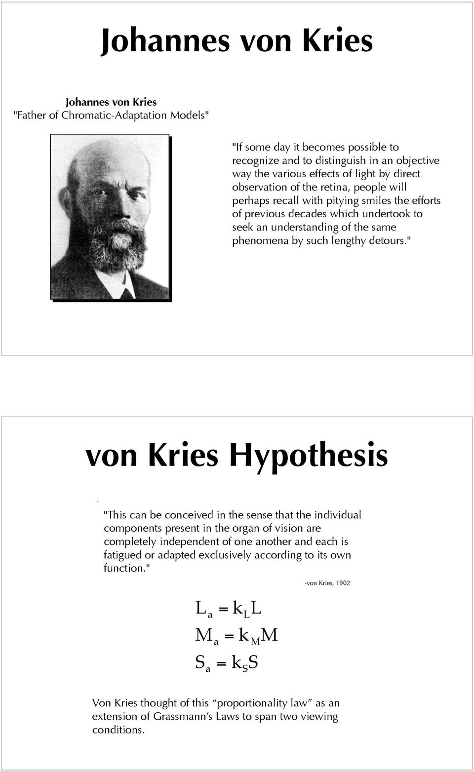 """ von Kries Hypothesis ""This can be conceived in the sense that the individual components present in the organ of vision are completely independent of one another and each is fatigued or adapted"
