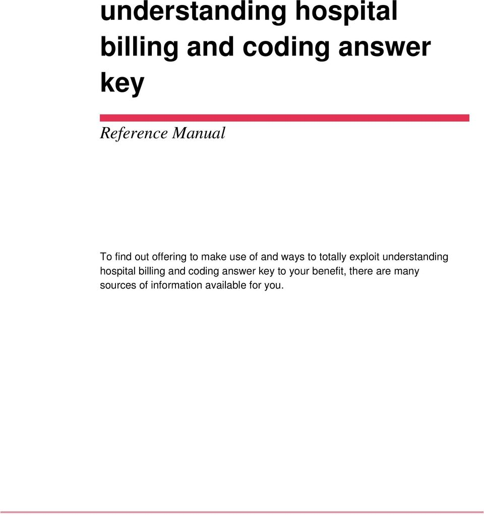exploit understanding hospital billing and coding answer key to