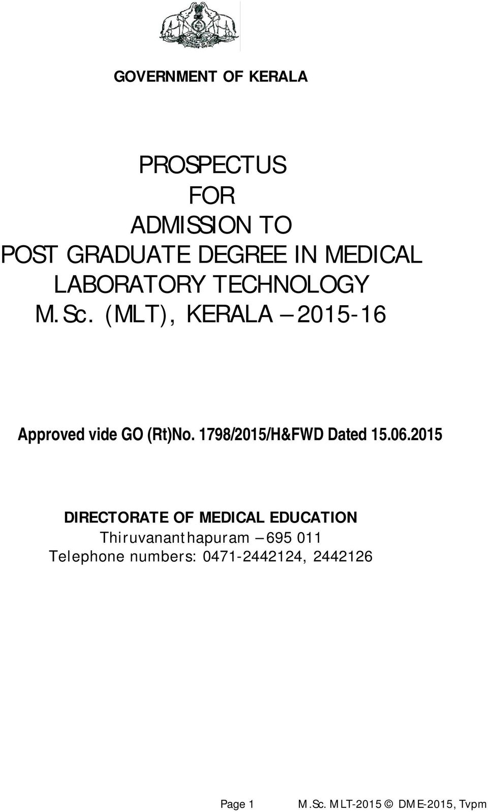 Prospectus For Admission To Post Graduate Degree In Medical