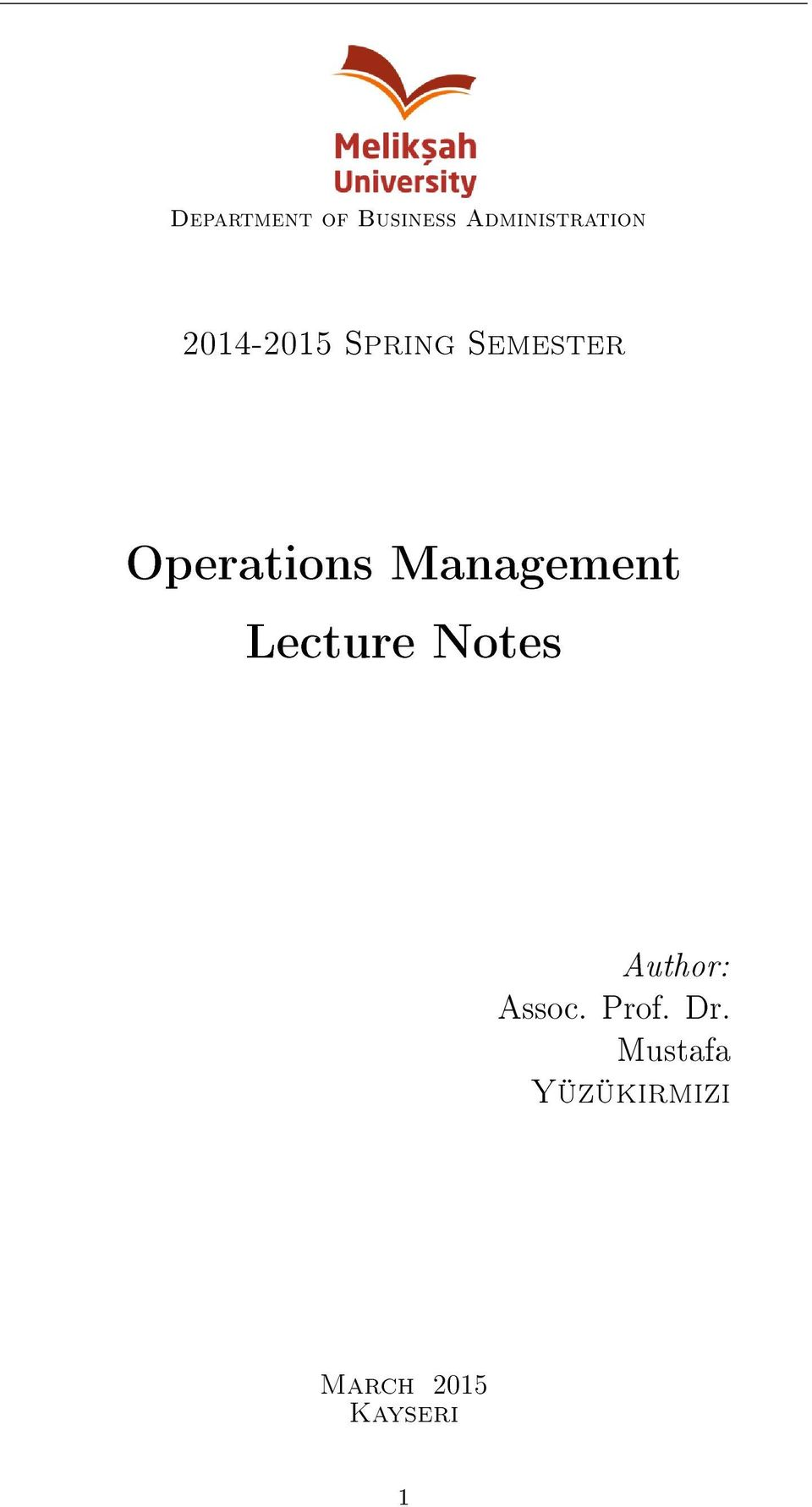 Course notes operations management