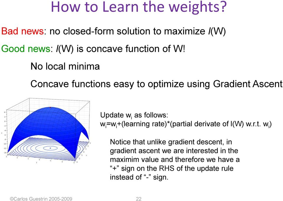 rate)*(partial derivate of l(w) w.r.t. w i ) Notice that unlike gradient descent, in gradient ascent we are interested